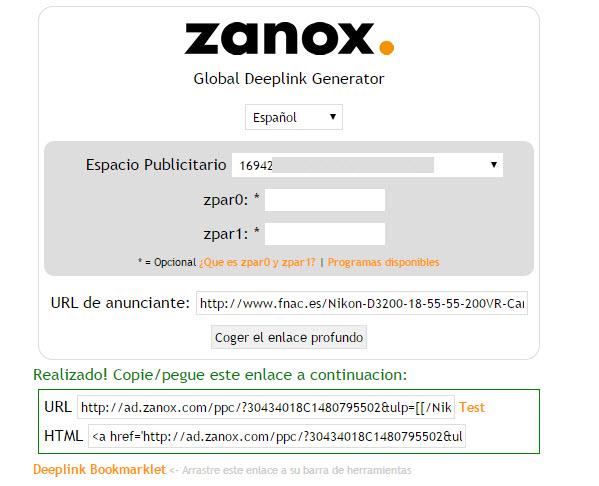 zanox enlaces profundos